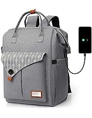 Rucksack Damen, Laptop Rucksack für 15.6 Zoll Laptop Schulrucksack mit USB Ladeanschluss für Arbeit Wandern Reisen Camping, für Mädchen, Oxford, 20-35L
