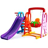 colorful slide and swing set