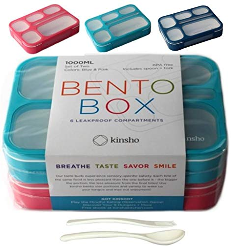 6 Compartment Lunch Boxes. Bento Box Lunchbox Containers for