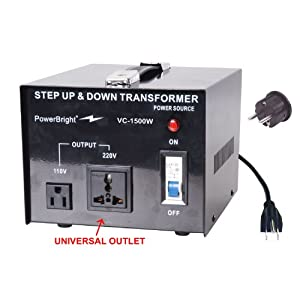Power Bright VC1500W Voltage Transformer 1500 Watt Step Up/Down converter 110/120 Volt - 220/240 Volt
