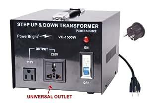 Power Bright VC1500W Voltage Transformer 1500 Watt Step Up/Down converter  110/120 Volt - 220/240 Volt