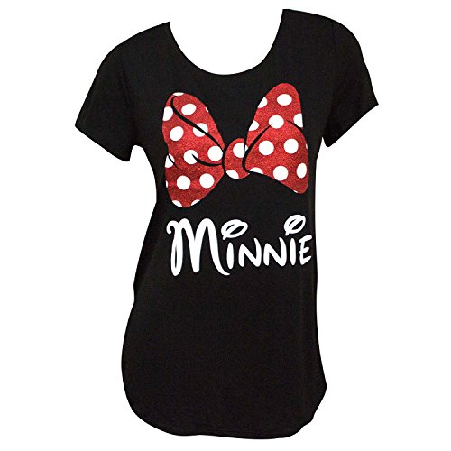 Disney Minnie Mouse Red Sparkle Polka Dot Bow T-Shirt for Moms (Women's, Medium)