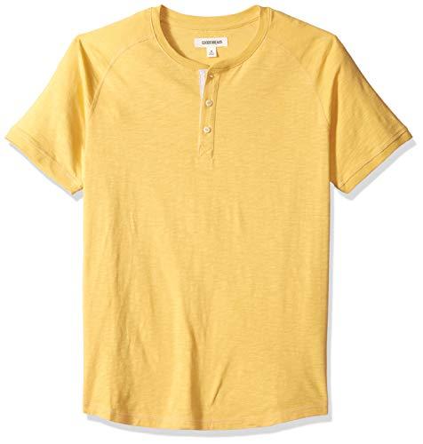 - Goodthreads Men's Short-Sleeve Lightweight Slub Henley, gold, X-Large