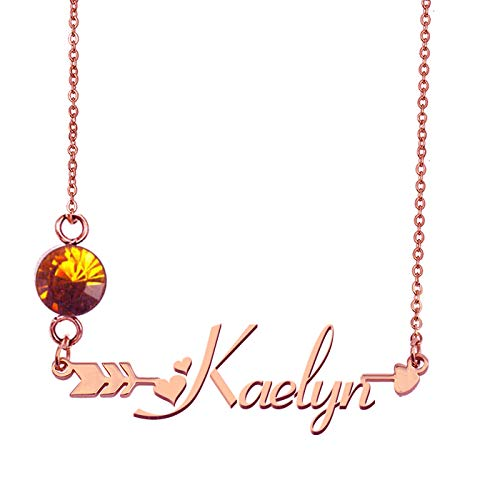 HUAN XUN Customized Mother's Name Kaelyn Necklace with