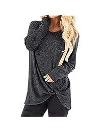 Hosamtel Womens Long Sleeve T-Shirt Knot Side Cold Shoulder Fashion Blouse Tops