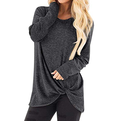 Sunhusing Women's Solid Color Twist Knot Round Neck Long Sleeve Top Loose Comfort Pullover T-Shirt Dark Gray -