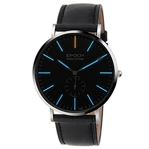 EPOCH 6025G Waterproof 50m tritium Blue Luminous Ultrathin case Leather Strap Business Men Quartz Watch Wristwatch -  6025G leather black blue