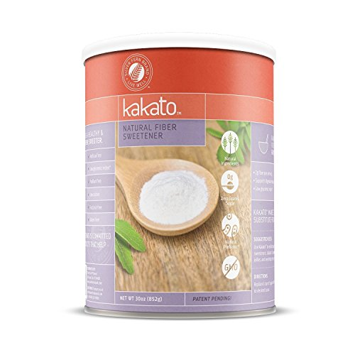 Sweet Fiber All Natural Sweetener - Kakato High Fiber Sweetener - Non-GMO, Natural, Low Calorie Sugar Substitute - Artificial Free, Gluten Free, Prebiotic, Sugar Alcohol Free - All Purpose Healthy Sweetener (1 Cannister - 30 Oz)