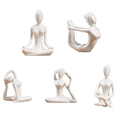 Zen Garden Collection (B Blesiya 5x Ceramic Yoga Figure Ornament Statue Sculpture for Zen Garden Home Desktop Decoration)