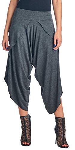 Popana Women's Casual Summer Boho Harem Jogger Pants Gaucho Culottes Made in USA Large Charcoal
