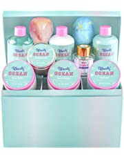 Bff Beauty Spa Gift Sets - 12pcs Ocean Spa Basket with Premium Jewelry Box, Includes Bubble Bath, Body Lotion, Body Lotion, Home Spa Kit for Women Birthday Gift, Holiday Gift