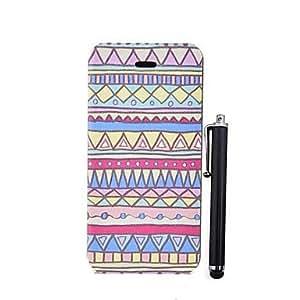 TY-Patrón de rayas de colores exquisita PU caso completo de cuerpo con el soporte y un lápiz óptico para el iPhone 5/5S