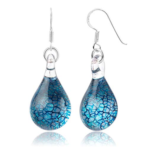 925 Sterling Silver Hand Blown Venetian Murano Glass Blue Silver Water Drop Shaped Dangle Earrings