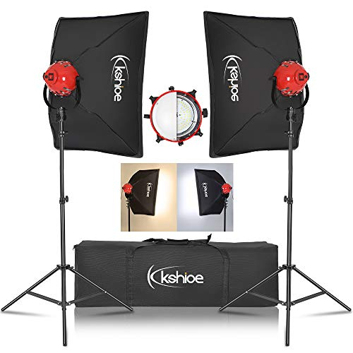 kshioe photography softbox lighting kit photo studio equipment 45w dimmable led with double color temperature for portrait video and shooting