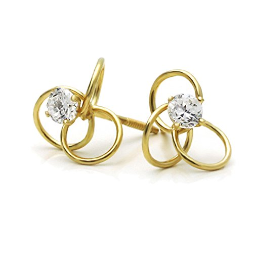 (14K Yellow Gold Round Cubic Zirconia Celtic Love Knot Screwback Stud Earrings)