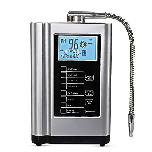 AquaGreen Alkaline Water Ionizer Machine AG7.0 Silver,Water Filtration System for Home,Produces PH 3.5-10.5 Acid Alkaline Water,Up to -500mV ORP,6000 Liters Per Filter,7 Water Settings,Auto-Cleaning