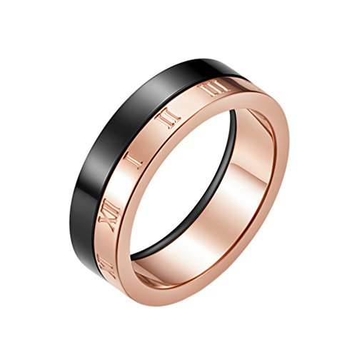 IFUAQZ Unisex's Stainless Steel 6MM Roman Numerals Ring Double Color Wedding Band Black and Rose Gold Size 10 (Bands Wedding Roman Gold)
