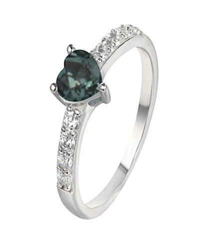 Designed by Ellen Natural Color Change Alexandrite Diamond Ring in 14K White Gold