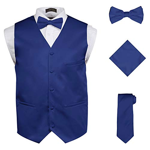 Vittorino Mens 4 Piece Formal Vest Set Combo with Tie Bow Tie and Handkerchief, Royal, Small ()