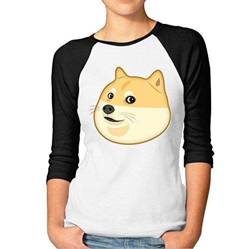 JTCY Doge Emoji Women's 3/4 Sleeve Jersey Shirt Baseball Tee Raglan T-Shirts L - Frame Double Png