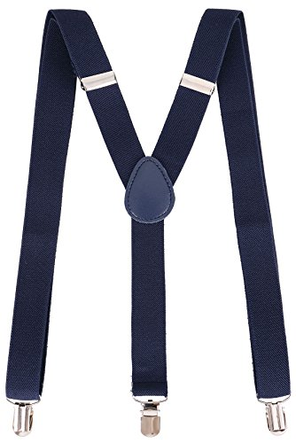 Livingston Clip-On Adjustable Elastic Suspenders Costume Accessory, Navy ()