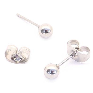 f67290de2 5mm Silver plain ball Surgical steel stud earrings (Fits standard Ear  Piercing): Amazon.co.uk: Jewellery