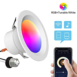 Lumary 4 inch Smart LED Recessed Light Wi-Fi LED Downlight RGBWW Can Lights Music Sync Simple Retrofit Installation Compatible with Alexa Google Assistant 9W 810LM (4 in WiFi- 1 Pack)