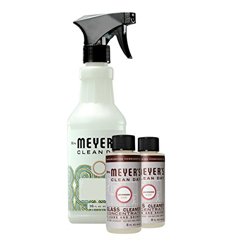 Glass Cleaner Trigger Spray - Mrs. Meyer's Glass Cleaner Concentrate Variety Pack, 1 Empty Spray Trigger Bottle, 2 Glass Cleaner Concentrate Lavender, 3 CT