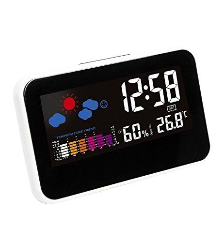 Hippih Digital LCD Snooze Bedside Wecker Elektronischer Schreibtisch Uhr mit Wetterstation LED-Hintergrundbeleuchtung Farbe Symbol Innentemperatur Luftfeuchtigkeit Tag Datum Zeit-Anzeige (weiß)