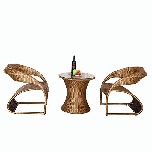 DASENLIN Outdoor-Freizeit Rohrstuhl drei Stück Garten Eisenkunst Balkontisch Stuhl, Champagner Farbe