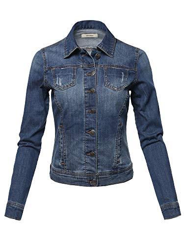 Awesome21 Casual Slim Stretch Washed Denim Jacket Dark Size L