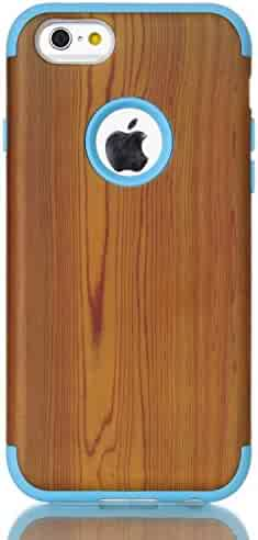 iPhone 6S Case, XRPow iPhone 6 4.7inch Wood Style Shock-absorbing Flexible Durability TPU Bumper Cover Durable Anti-Slip Front + Back Hard PC Defensive Protection Cover for iPhone 6/6s Blue