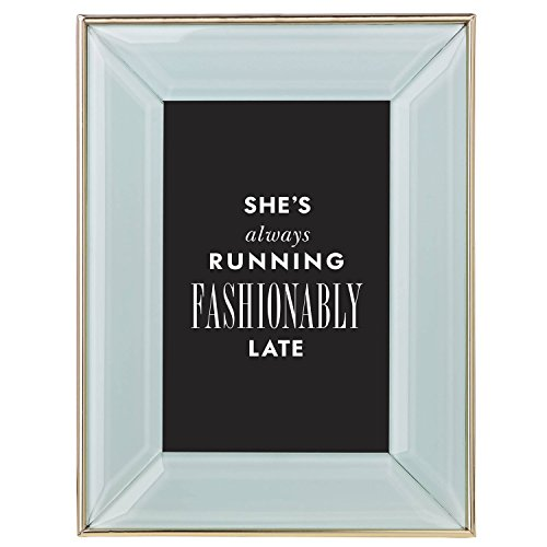 Kate Spade New York Charles Lane Mint 4x6 Picture Frame, Mint Green Lacquered Metal with Gold Band ()