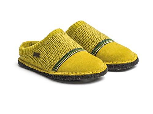 Haflinger 313054 Flair Seventies Damen Hausschuhe Pantoffeln Wolle Grün