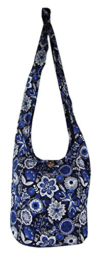 Bag Blue Bags Floral Hippie Cotton Boho Hobo Medium Butterfly Beach Purse pwwzdv