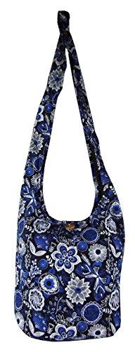 Cotton Blue Boho Floral Medium Beach Butterfly Hobo Hippie Bag Bags Purse n0wTvqwBa