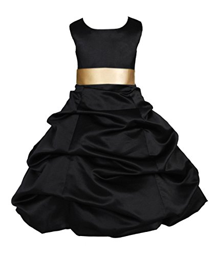 Black Bubble Satin (ekidsbridal Black Satin Pick-Up Bubble Flower Girl Dresses Pageant Dress 806S 14)