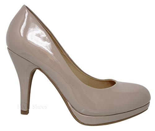 MVE Heel Shoes Women's Shoes Mid Almond Pumps j Toe Beigepat UqpZUFx7