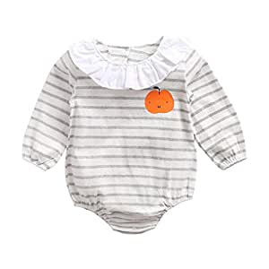ALLAIBB Unisex Baby Long Sleeve Triangle Romper Cotton Apple Pattern Stripe Jumpsuit