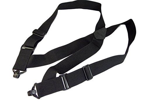 Airport Friendly HoldUp Brand No-buzz Black 2 wide Hip Clip Suspenders with patented Jumbo Composite Plastic Gripper Clasps