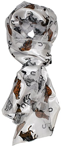 - Ted and Jack - Stylish Equestrian Horse Print Silk Feel Scarf (Western White)