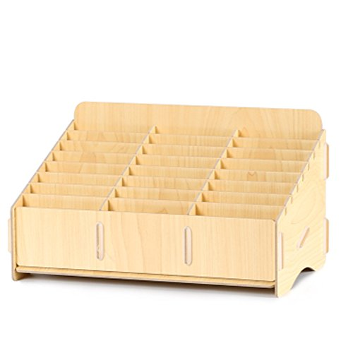 Loghot Wooden 24 Storage Compartments Multifunctional Storage Box for Cell Phones Holder Desk Supplies Organizer (Maple)