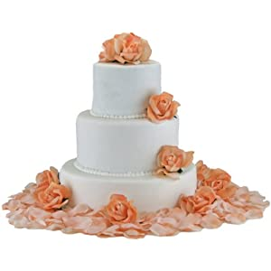 TheBridesBouquet.com Peach Silk Rose Cake Flowers - Reception Decoration 47