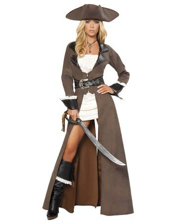 Roma Costume Deluxe 4 Piece Pirate Captain Costume, Distressed Brown, Large (Adult Female Pirate Costume)