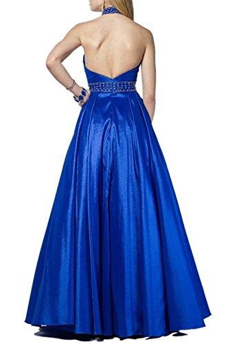 Blau mia Damen Formal Royal Kleider Damenmode Abendkleider Neckholder Satin Langes La Partykleider Braut Ballkleider Jugendweihe FZR6Zw