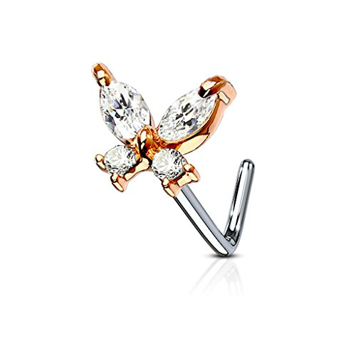 Fifth Cue 20G CZ Butterfly 316L Surgical Steel L Bend Stud Nose Ring (Rose Gold/Steel)