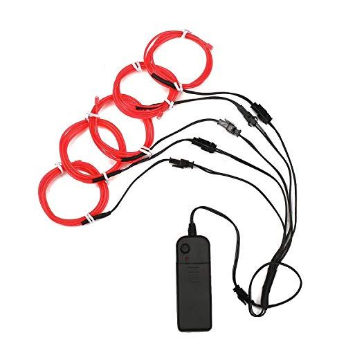ASOCEA 5X3.3ft(1M) Neon Light El Wire w/Battery Pack for Parties, Halloween Decoration (Red)]()