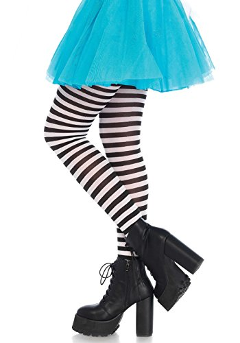 Leg Avenue Women's Nylon Striped Tights, Black/White, One (Tight Black Dress Halloween Costumes)