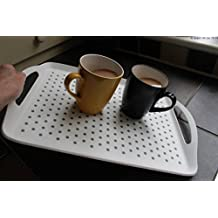 The Ultimate Non Slip Spill White Tv Bed Dinner Lap Tea Drinks Serving Tray Disability Kids (Small: 41.5cm x 29.4cm)