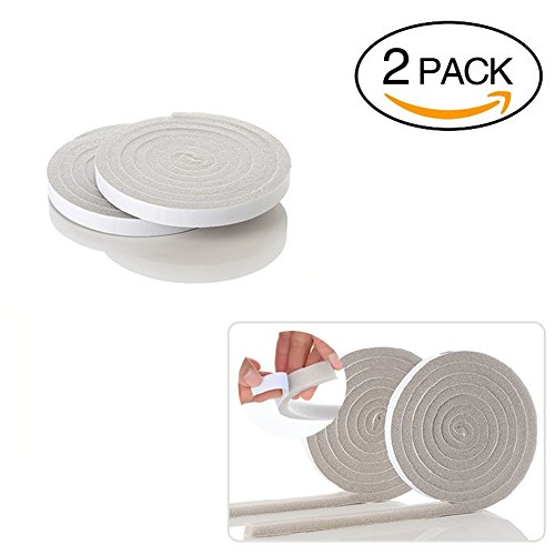 Poly Foam Insulation (2 X Betan Foam Tape, Rolls Poly Foam Self Adhesive Weatherseal Tape Maximum Compression, charcoal weather stripping tape 0.6X0.4 Inch by 6.5 feet, Grey)